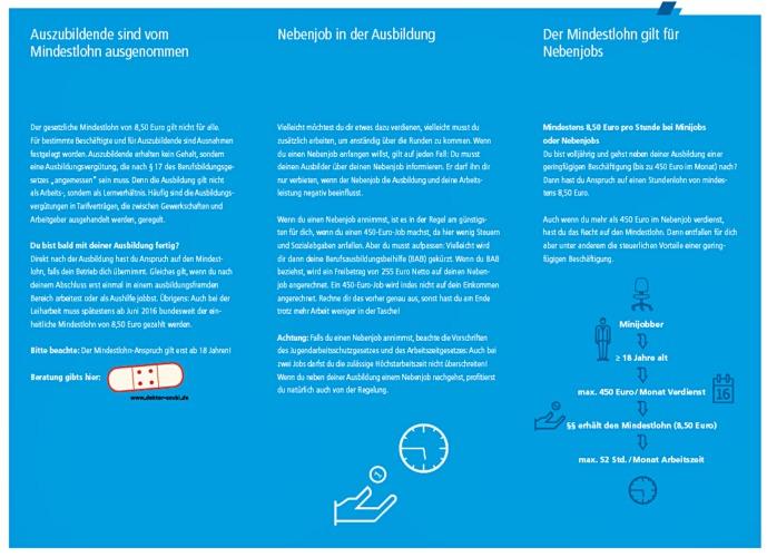 Flyer-Rückseite zum Mindestlohn, Variante für Auszubildende