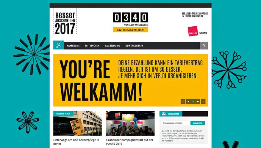 News-Bereich auf der neuen Webseite zur Kampagne im Friseur-Handwerk