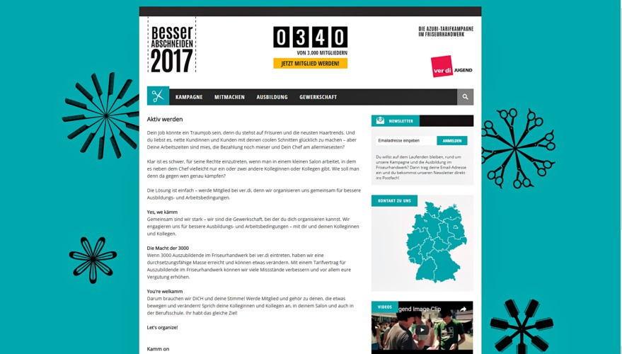 Ansicht der neuen Webseite zur Kampagne im Friseur-Handwerk