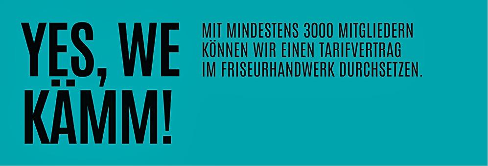 Webseiten-Bühnenelement mit Slogan und Teaser zur Kampagne im Friseur-Handwerk