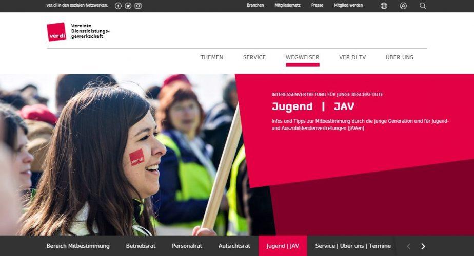 Jugend-Bereich auf der neuen Webseite