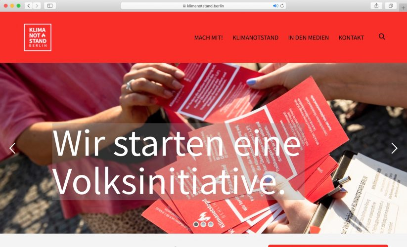 Website klimanotstand.berlin