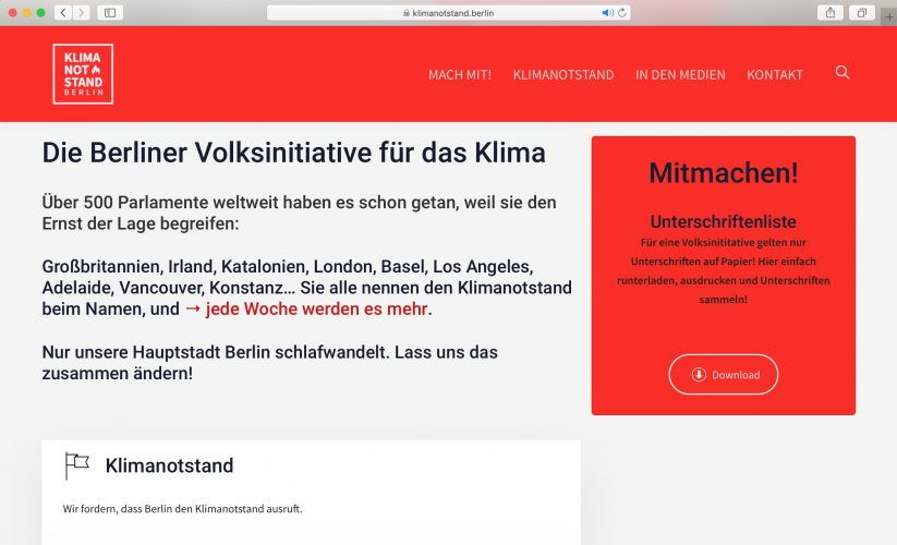 Website klimanotstand.berlin 2