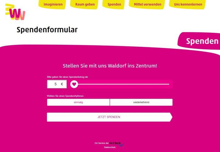 Spendenformular auf der Website zur Fundraising-Kampagne