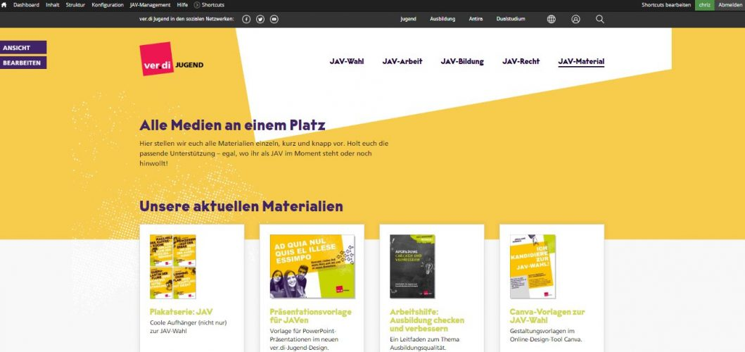 News-Bereich auf der neuen Webseite