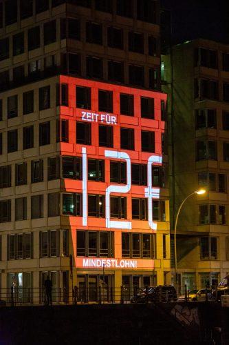 Licht-Aktion zum Mindestlohn, Arbeitgeberzentrale Berlin